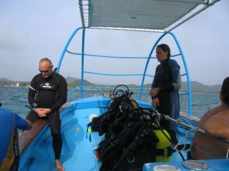 Marin Plongée moniteurs sur le bateau